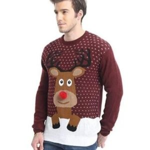 Ugly Xmas Red Reindeer Sweater